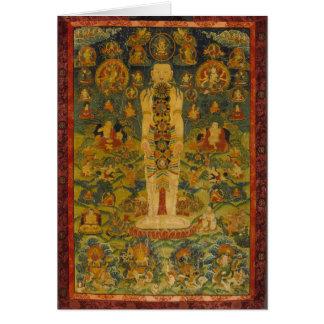 Cartão Ioga tibetana Thangka do homem cósmico