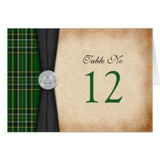 Cartão irlandês da mesa do casamento de Claddagh