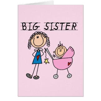 Cartão Irmã mais velha com t-shirt e presentes da irmã