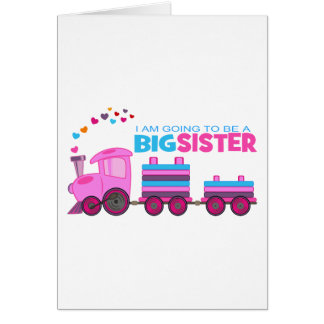 Cartão Irmã mais velha cor-de-rosa do trem