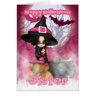 Cartão Irmã o Dia das Bruxas com a bruxa de Girlie nos