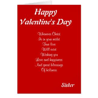 Cartão Irmã religiosa do dia dos namorados