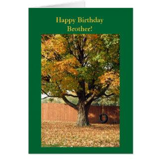 Cartão Irmão do feliz aniversario!  Balanço velho do pneu