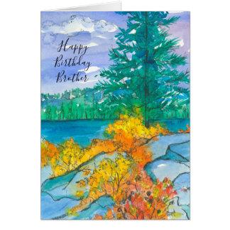 Cartão Irmão do feliz aniversario do lago mountain do