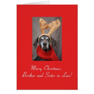 Cartão Irmão e irmã na feliz x do ponteiro da rena da lei