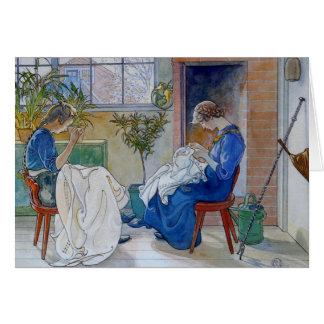 Cartão Irmãs que Sewing pela lareira