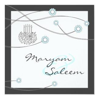 Cartão islâmico da flor do casamento do bismillah convite quadrado 13.35 x 13.35cm