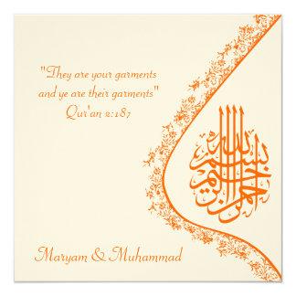 Cartão islâmico do convite do damasco do noivado