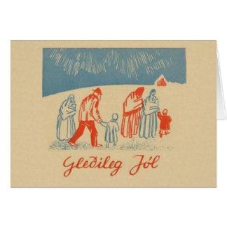 Cartão islandês do Natal do vintage