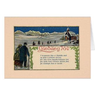Cartão islandês do poema do Natal do vintage