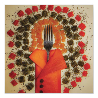 Cartão italiano da cozinha convite quadrado 13.35 x 13.35cm