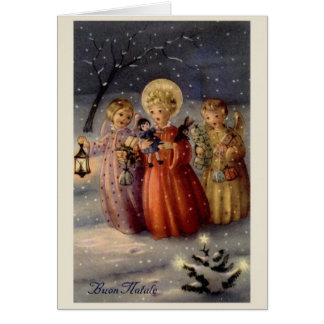 Cartão italiano do Natal dos anjos do vintage
