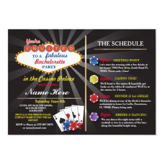 Cartão Itinerário Bachelorette de Vegas do casino do chá