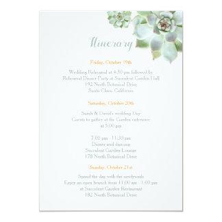 Cartão Itinerário bonito do casamento do jardim do