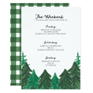 Cartão Itinerário do fim de semana da cabine - festa de