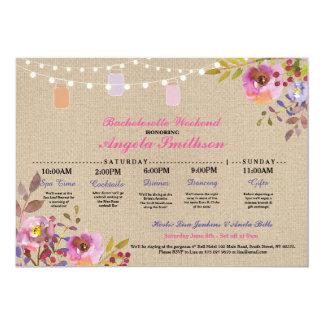 Cartão Itinerário floral Bachelorette dos frascos do chá
