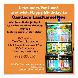 Cartão Jackpot do slot machine do almoço do aniversário