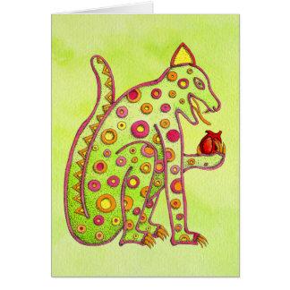 Cartão Jaguar que come o coração (wc verde do lt)