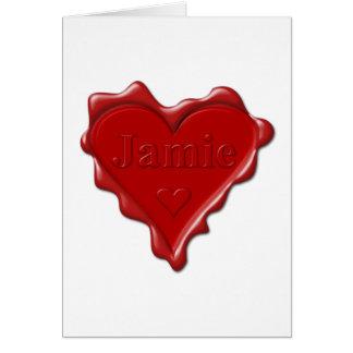 Cartão Jamie. Selo vermelho da cera do coração com Jamie