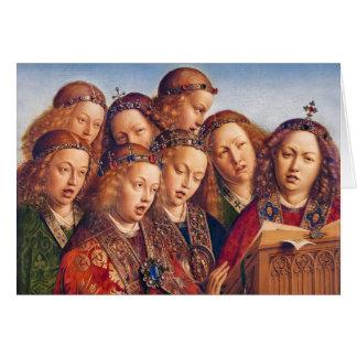 Cartão Jan van Eyck que canta a anjos o altarpiece de