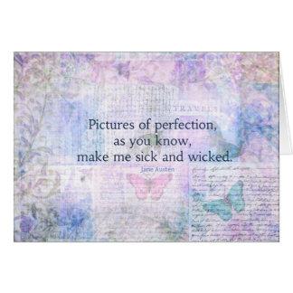 Cartão Jane Austen cómico, citações espirituosos