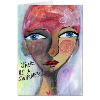 Cartão Jane é um nadador
