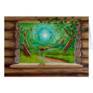 Cartão Janela de cabana rústica de madeira