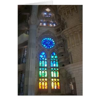 Cartão Janelas de vitral de Gaudi - de Sagrada Familia