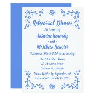 Cartão Jantar de ensaio azul floral do casamento do