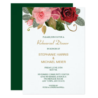 Cartão Jantar de ensaio do casamento da beira do rosa do