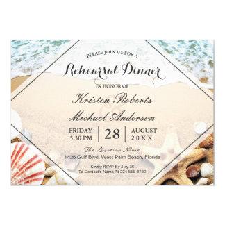 Cartão Jantar de ensaio do casamento da estrela do mar da