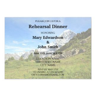 Cartão Jantar de ensaio do casamento da montanha dos