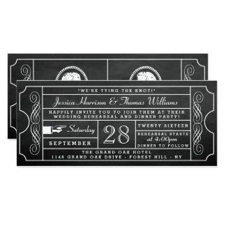 Cartão Jantar de ensaio do casamento do bilhete do quadro