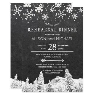 Cartão Jantar de ensaio do inverno dos flocos de neve do