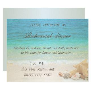Cartão Jantar de ensaio dos Seashells do casamento de