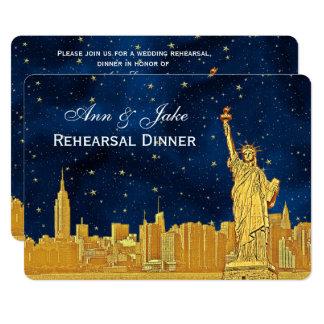 Cartão Jantar de ensaio estrelado azul da skyline #2 H do