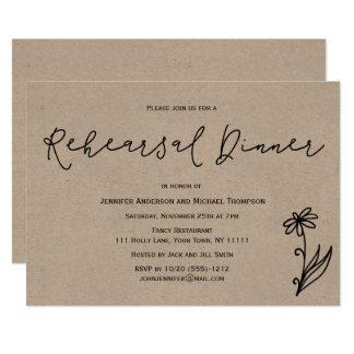 Cartão Jantar de ensaio floral botânico rústico simples