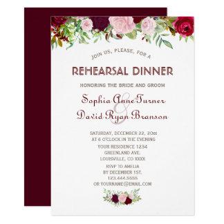 Cartão Jantar de ensaio floral de Borgonha Marsala do