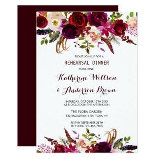 Cartão Jantar de ensaio floral do casamento de Borgonha