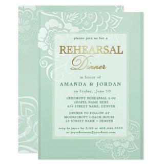 Cartão Jantar de ensaio floral do casamento do verde da
