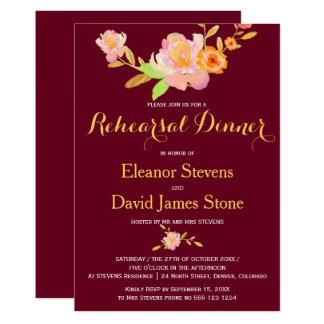 Cartão Jantar de ensaio floral do casamento outono do