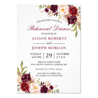 Cartão Jantar de ensaio floral elegante do casamento de