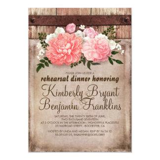 Cartão Jantar de ensaio floral rústico da madeira do