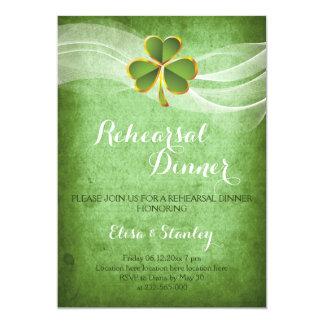 Cartão Jantar de ensaio irlandês do trevo & do casamento