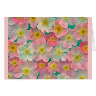 Cartão japonês cor-de-rosa das anêmonas