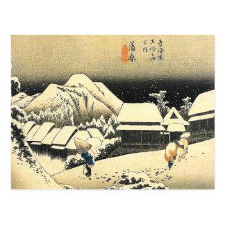 Cartão japonês da arte da cena da neve de