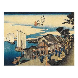 Cartão japonês da cena do porto de Hiroshige do
