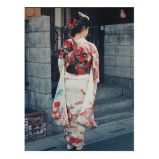 cartão japonês das férias do quimono cartão postal