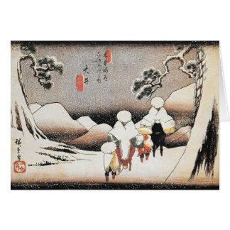 Cartão japonês do impressão da neve da arte de