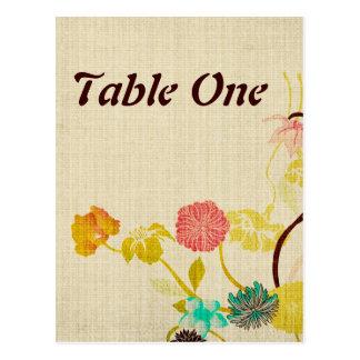 Cartão japonês do número da mesa das flores